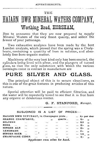 An advertisement from 1881 for the company