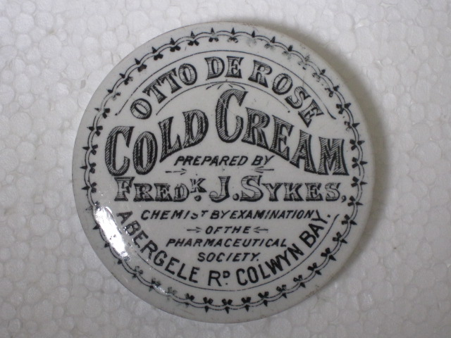 Fredk. J. Sykes, Abergele Road, Colwyn Bay, Otto de Rose Cold Cream
