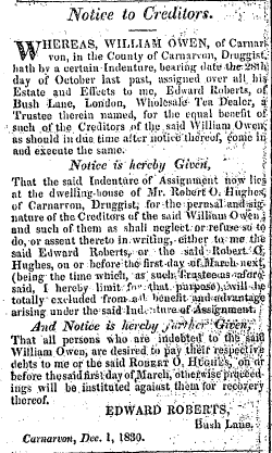 North Wales Chronicle, 02/12/1830